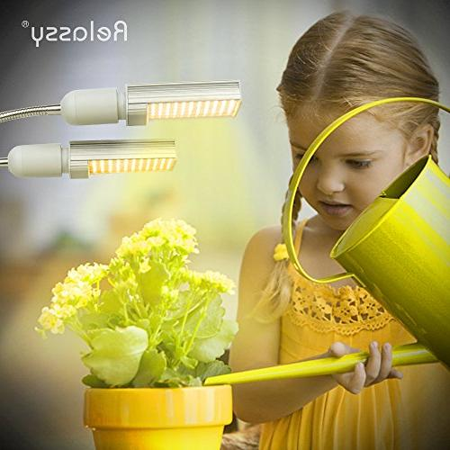 LED Grow Light for Indoor Plant, Sunlike Spectrum Lamp, Gooseneck Plant Light Bulb, Double for Seedling Blooming Fruiting