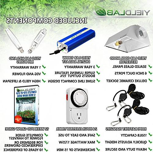 Yield 1000w HPS Cool Hood Kit Easy Setup System For And – Free Timer and 12 Grow DVD