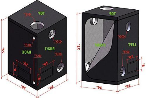 """TopoGrow LED Spectrum Grow +36""""x36""""x72"""" Grow + 6"""" Filter Ventilation Kit"""