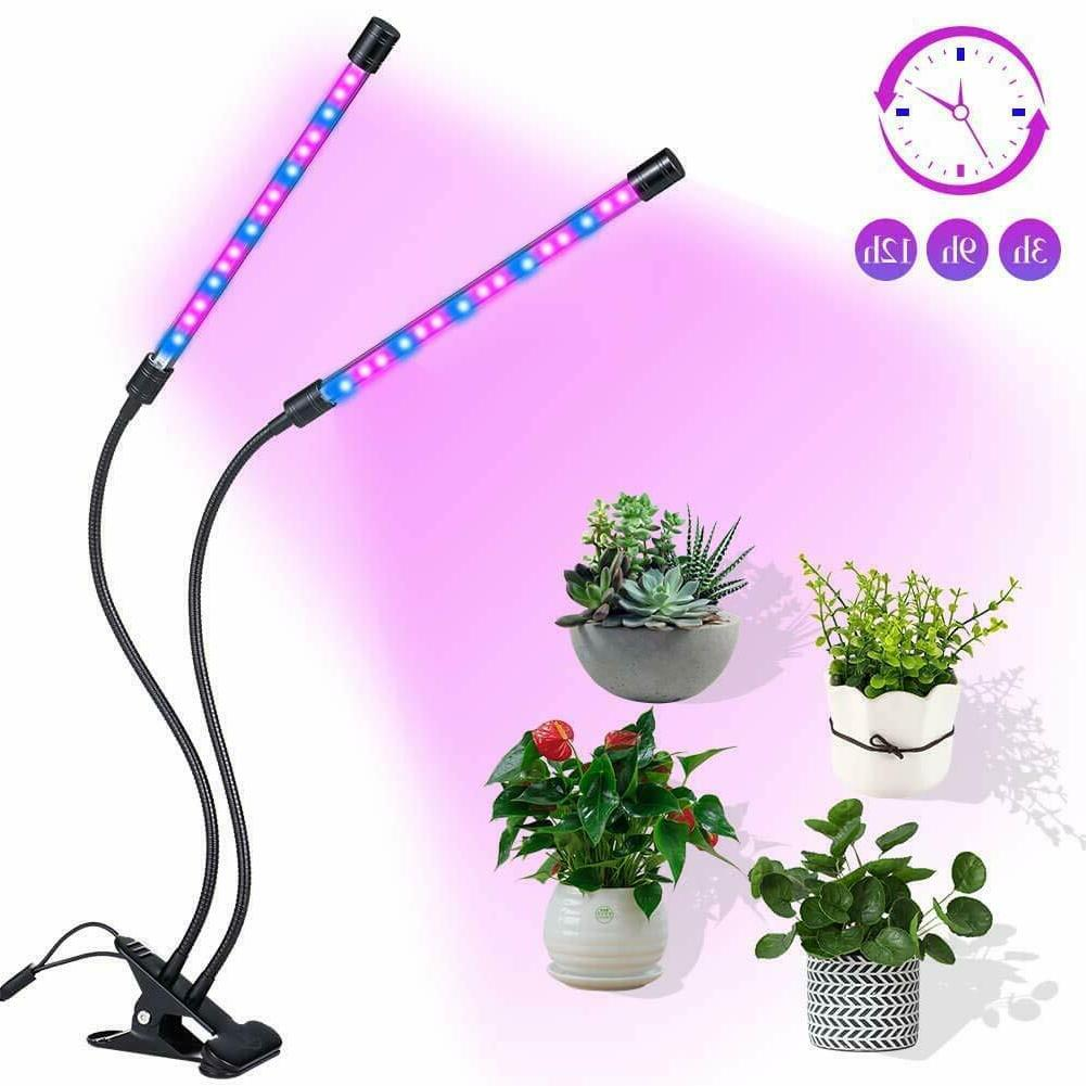 Plant Grow Light Gooseneck Dual Head LED Lamp Hydroponics Gr