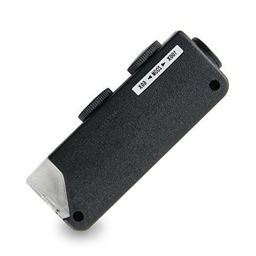Agromax 60x 100x Mini Led Lighted Pocket Microscope