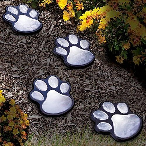 Finlon Paw Print Garden of Solar Lights Pet Animal Paws Outdoor Lawn Decor Gardening Yard Pool Parties Ideas