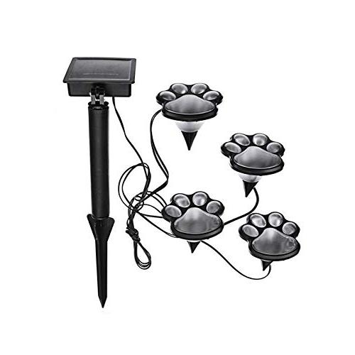 Finlon Paw Print Solar Garden Lights - of 4 Lights - Puppy Pet Animal Paws Outdoor Lawn Decor Gardening Yard Parties Ideas In Li