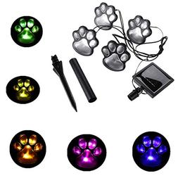 Finlon Paw Print Solar Garden Lights - Set of 4 Solar Powere