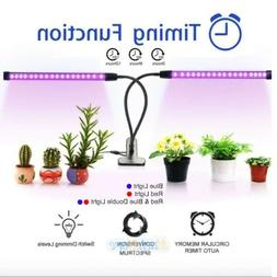 Plant Grow Light Dual Head Gooseneck LED Lamp Hydroponics Gr