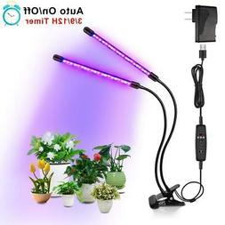 Dual Head Plant Grow Light Adjustable Lamp + 40 LED for Indo