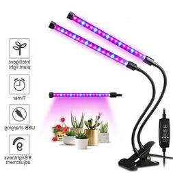 Dual Head Plant Grow Light Lamp + 40 LED for Indoor Plants H