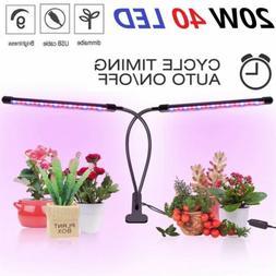 Plant Grow Light Gooseneck Dual Head LED Lamp Hydroponics Gr