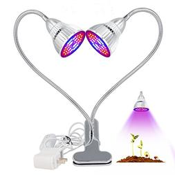 Garden LED Plant Light, Kisstaker 60W Dual Head Plants Led G