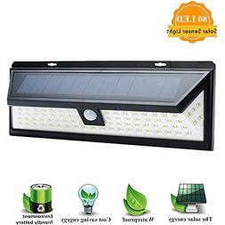 Solar Lights Outdoor, SOLMORE 80 LED Motion Sensor Solar Lig