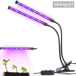 Upgraded Dual-lamp LED Grow Light Aotson 18W Dimmable 2 Leve