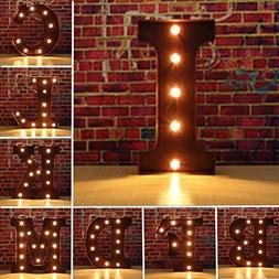 Hitommy Vintage Metal LED Light DIY Letter A to M Sign Carni