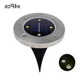 Oldeagle 4Pcs Waterproof Stylish 4LED Solar Power Buried Lig